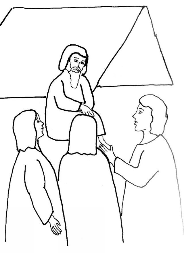 angels visit abraham 2 coloring page