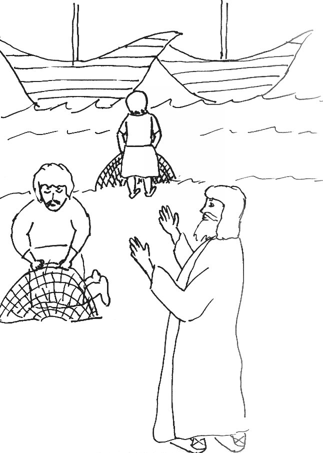 Fishers Of Men Coloring Page Link To Bible Story Jesus Chooses His Disciples