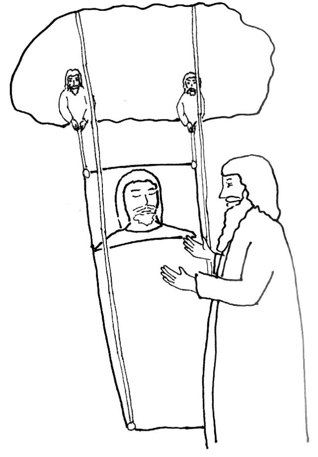 jesus and man with palsy 2 coloring page