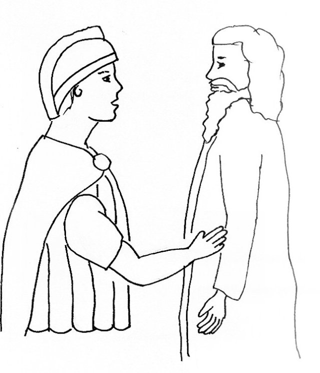 jesus and the soldier coloring page