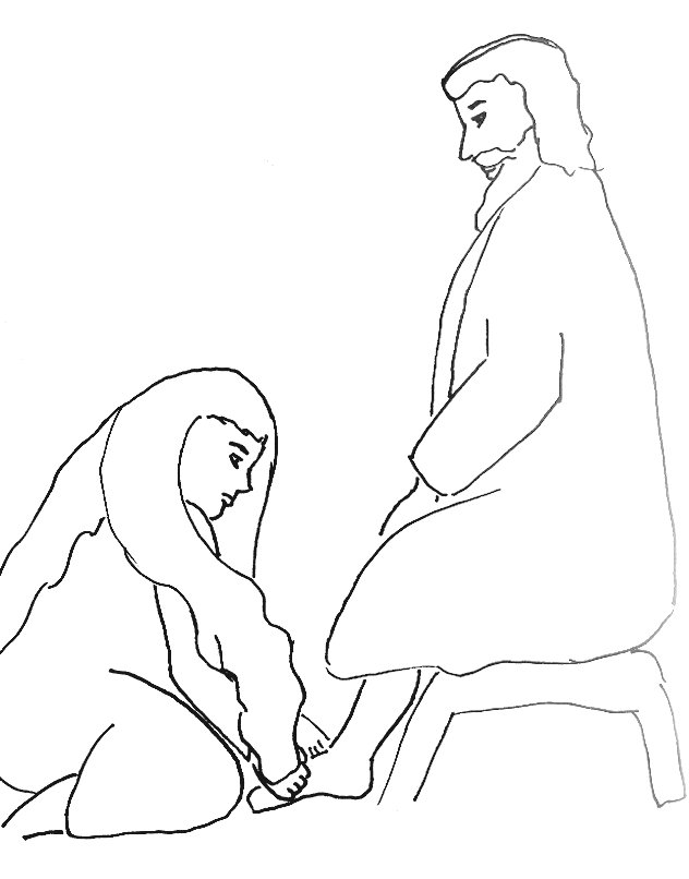 Bible Story Coloring Page For Jesus Forgives A Woman