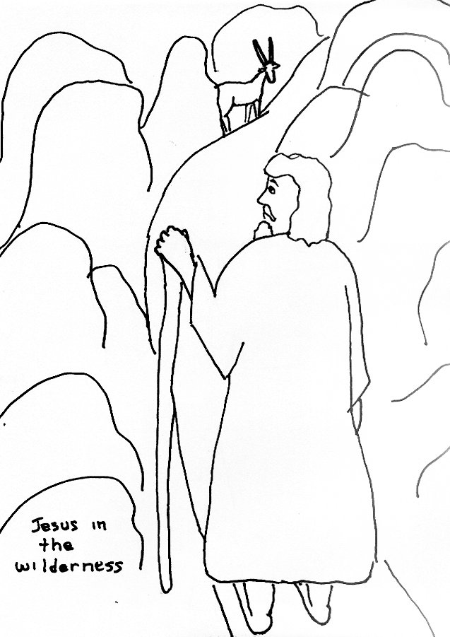 Bible Story Coloring Page For Temptation Of Jesus In The Wilderness