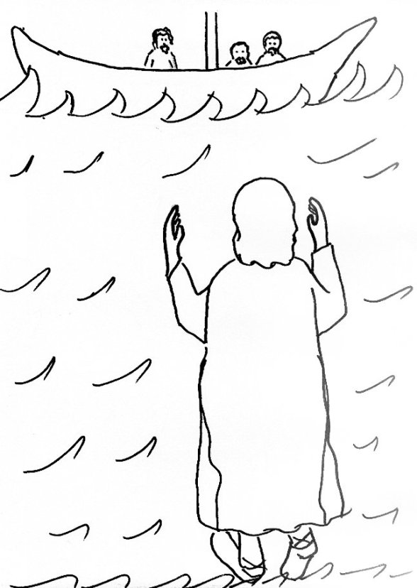 Bible story coloring page for jesus walks on water free for Jesus walks on water coloring pages