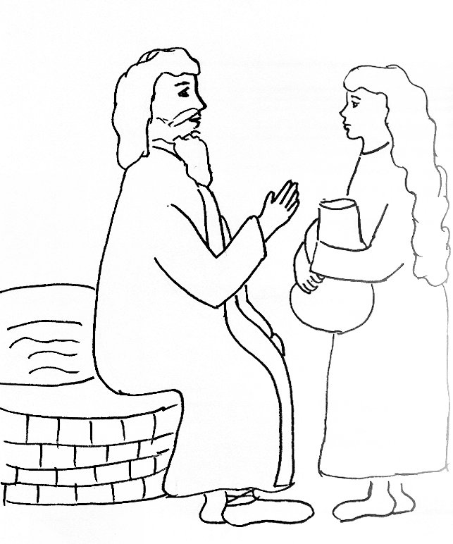 jesus woman at well coloring page link to bible story - Elijah Bible Story Coloring Pages