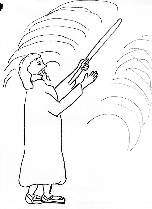 Bible story coloring page for moses and the parting of the red sea