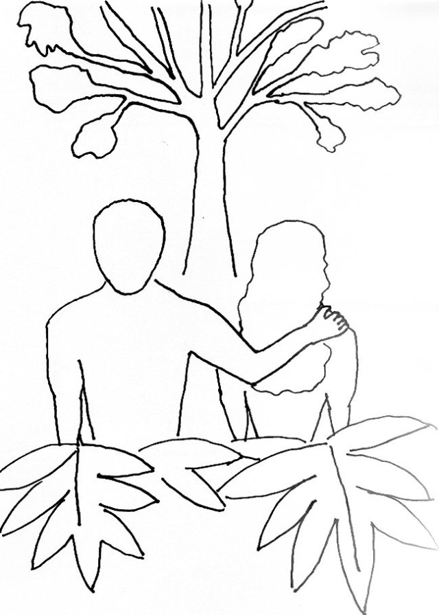 new adam and eve coloring page