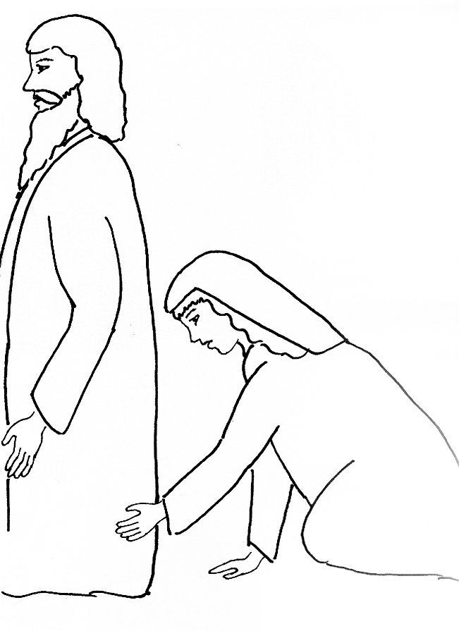 Bible Story Coloring Page For Jesus And The Woman With Issue Of Blood