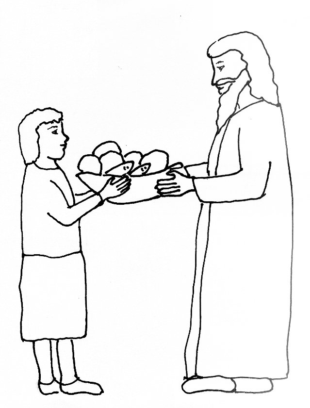 Bible Story Coloring Page For The Feeding Of The Five