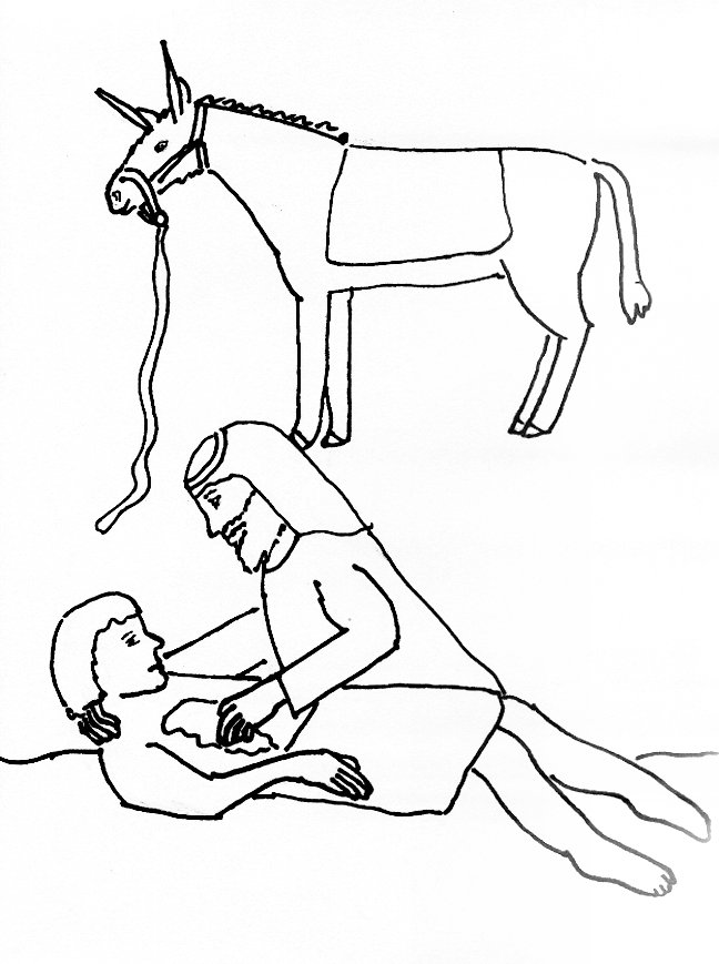 bible story coloring page for the good samaritan free bible stories for children - Good Samaritan Coloring Page