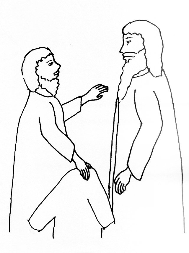 Bible Story Coloring Page for Jesus and Blind Bartimaeus