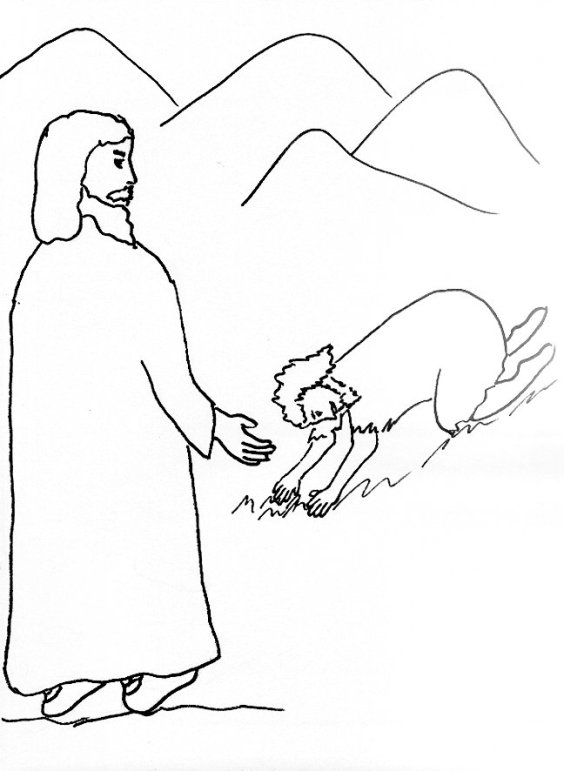 Bible Story Coloring Page for Jesus and the Man With the