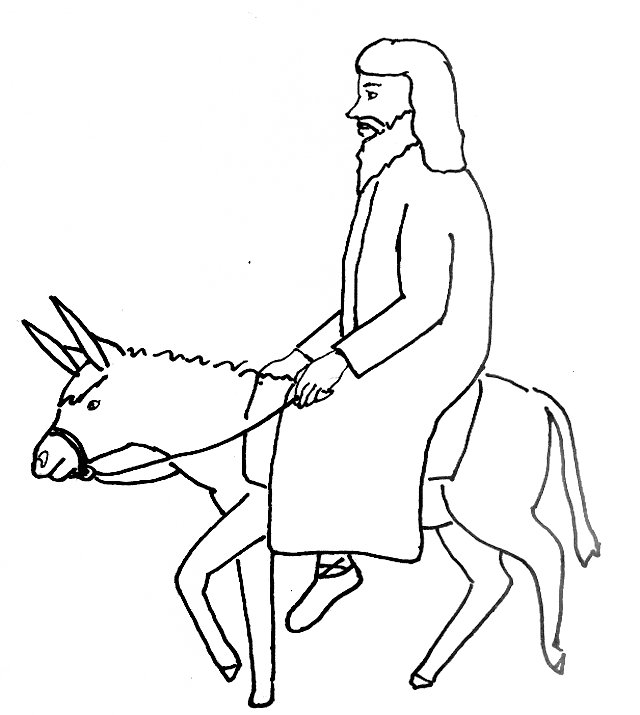 Bible Story Coloring Page For Jesus Triumphant Entry Into Jerusalem