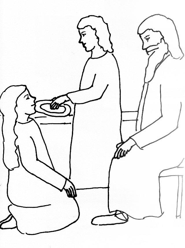 Bible Story Coloring Page for Jesus, Martha and Mary | Free ...