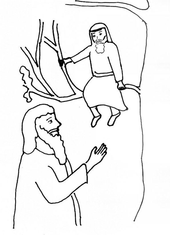 Bible Story Coloring Page Jesus and Zacchaeus | Free Bible ...