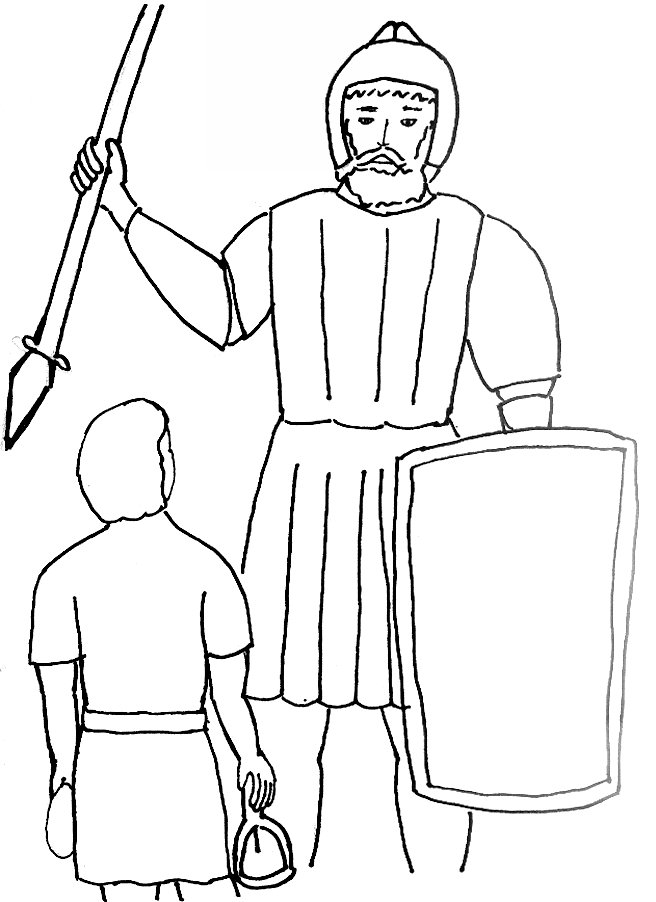 Bible Story Coloring Page For David And Goliath