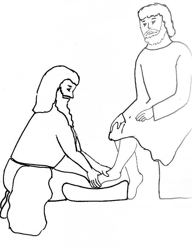 Jesus Washes the Disciples Feet Coloring Page | Ministry-To-Children | 829x643