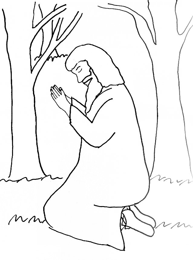 Bible Story Coloring Page For The Garden Of Gethsemane Jesus In The Garden Of Gethsemane Coloring Page