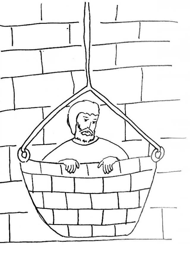 paul escapes in a basket coloring page