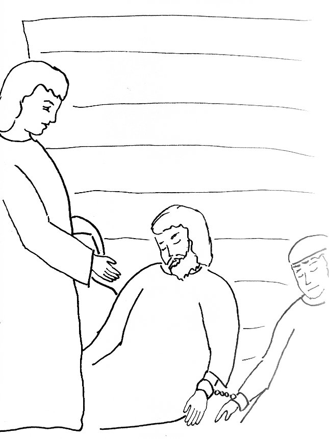 bible story coloring page for peter escapes from prison free bible stories for children