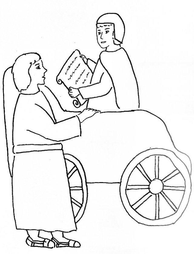 Bible Story Coloring Page for Philip and the Ethiopian Man