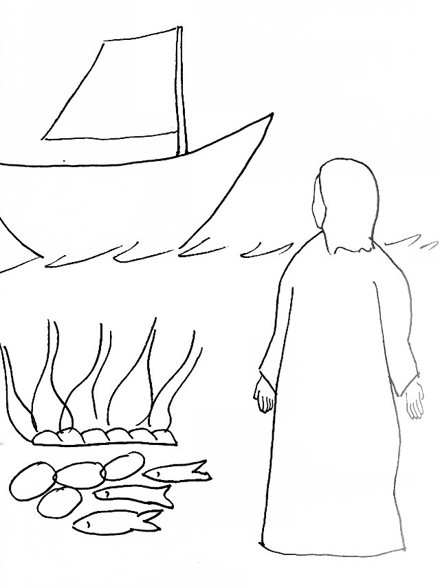 Bible Story Coloring Page For Risen Jesus At The Seashore